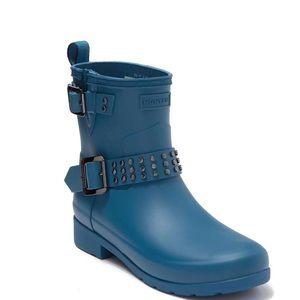 Hunter Refined Stud Waterproof Blue Biker Boots